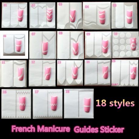 Набор 12 штук - Трафареты для французского маникюра и дизайна ногтей