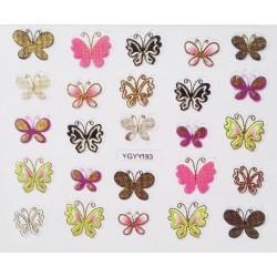 Наклейки для дизайна ногтей с эффектом литья, бабочки №193