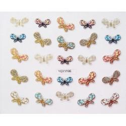 Наклейки для дизайна ногтей с эффектом литья, бабочки №196