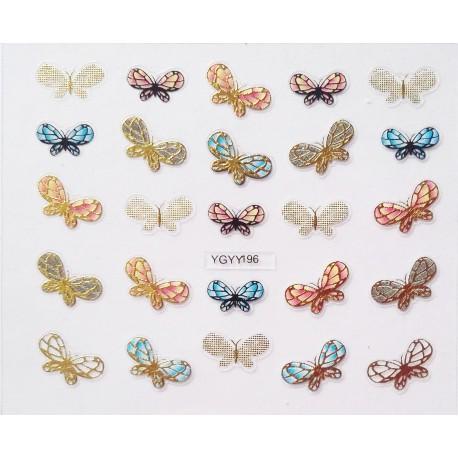 Наклейки для дизайна ногтей с эффектом литья, бабочки №195