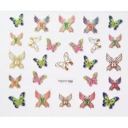 Наклейки для дизайна ногтей с эффектом литья, бабочки №199