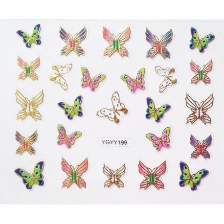 Наклейки для дизайна ногтей с эффектом литья, бабочки №198