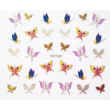 Наклейки для дизайна ногтей с эффектом литья, бабочки №200