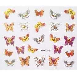 Наклейки для дизайна ногтей с эффектом литья, бабочки №202