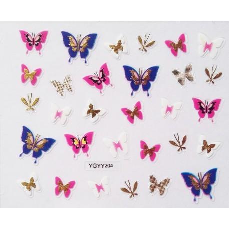 Наклейки для дизайна ногтей с эффектом литья, бабочки №203
