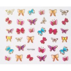 Наклейки для дизайна ногтей с эффектом литья, бабочки №205