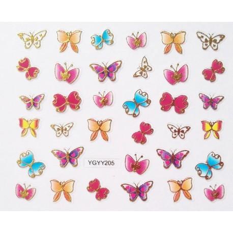 Наклейки для дизайна ногтей с эффектом литья, бабочки №204