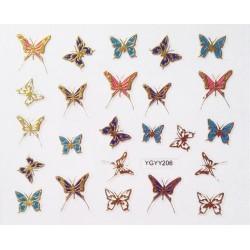 Наклейки для дизайна ногтей с эффектом литья, бабочки №206