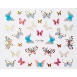 Наклейки для дизайна ногтей с эффектом литья, бабочки №207