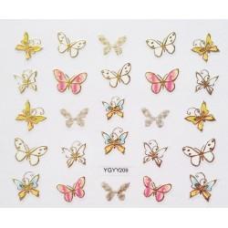 Наклейки для дизайна ногтей с эффектом литья, бабочки №209