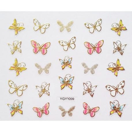 Наклейки для дизайна ногтей с эффектом литья, бабочки №208