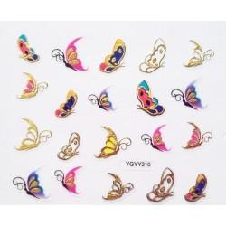 Наклейки для дизайна ногтей с эффектом литья, бабочки №210