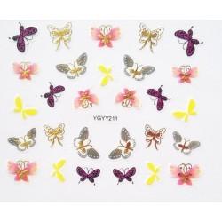 Наклейки для дизайна ногтей с эффектом литья, бабочки №211