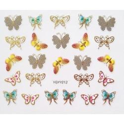 Наклейки для дизайна ногтей с эффектом литья, бабочки №212