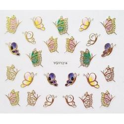 Наклейки для дизайна ногтей с эффектом литья, бабочки №214