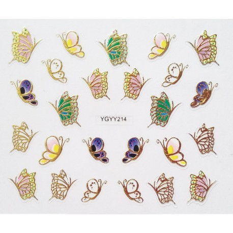 Наклейки для дизайна ногтей с эффектом литья, бабочки №213