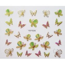 Наклейки для дизайна ногтей с эффектом литья, бабочки №216