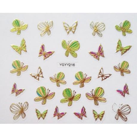 Наклейки для дизайна ногтей с эффектом литья, бабочки №215