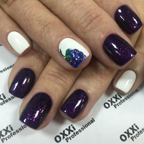 Гель - лак Oxxi №49 (фиолетовый с мелким розовым блеском)
