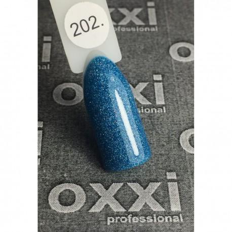 Гель - лак Oxxi №202 (сине-бирюзовый с голографическими блестками)