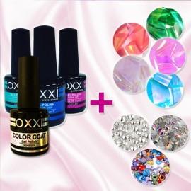 Набор гель-лаков ТМ OXXI + Фольга и Стразы в подарок