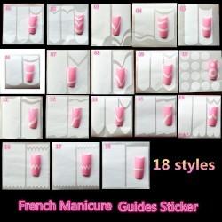 Набор 6 штук - Трафареты для французского маникюра и дизайна ногтей