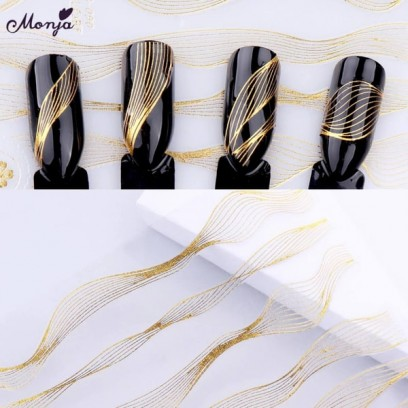 Наклейка для дизайна ногтей, металлик, самоклеющаяся.