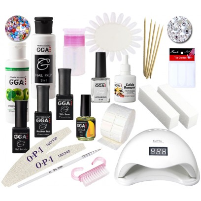 Набор для покрытия ногтей гель лаком GGA Professional с LED лампой 48 Вт