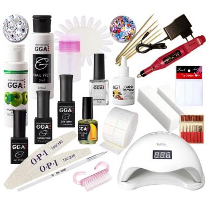 Набор для покрытия ногтей гель лаком GGA Professional с LED лампой 48 Вт и фрезером