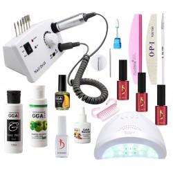 Набор для покрытия ногтей гель лаком Kodi с LED лампой SaN One и фрезером DM-211