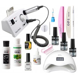 Стартовый набор для покрытия ногтей гель-лаком Oxxi с лампой UV/LED Sun5 и фрезером DM-211
