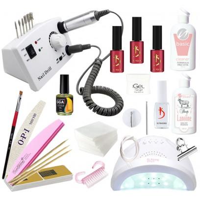 Hабор для наращивания ногтей гелем iGeL и покрытия гель-лаком Kodi с LED лампой SanOne и фрезером DM-211