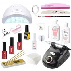 Hабор для наращивания ногтей гелем iGeL и покрытия гель-лаком Kodi с LED лампой SanOne и фрезером DM-208