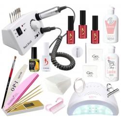 Hабор для наращивания ногтей гелем iGeL и покрытия гель-лаком Kodi лампой UV/LED SunOne и фрезером DM-211