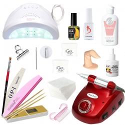 Hабор для наращивания ногтей гелем iGeL и покрытия гель-лаком Kodi лампой UV/LED SunOne и фрезером DM-208
