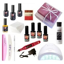 Набор гель-лаки My Nail с лампой SanOne и фрезером в подарочной упаковке