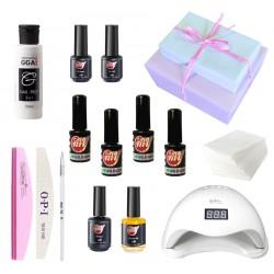 Набор гель-лаки My Nail для маникюра с лампой San5 в подарочной упаковке